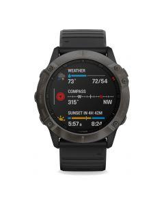 Garmin fenix 6X Sapphire Carbon Gray DLC w/Black Bnd GPS Watch EMEA