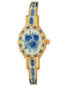 Rose crystal gold plated watch