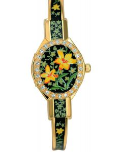 Florali crystal gold plated watch