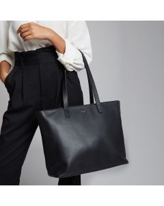 Knomo Maddox Leather Zip Tote - Black
