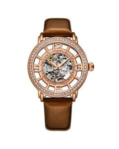 Stuhrling winchester automatic skeleton watch - 38mm-brown