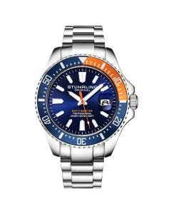 Stuhrling men's diver quartz watch - 44mm-orange