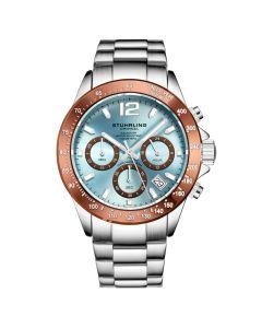 Stuhrling men's chrono quartz watch - 42mm-light blue