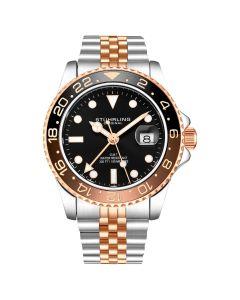 Stuhrling men's Meridian diver watch - 42mm-brown/rose
