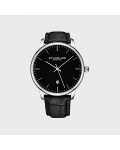 Stuhrling quartz leather watch - 43mm-black