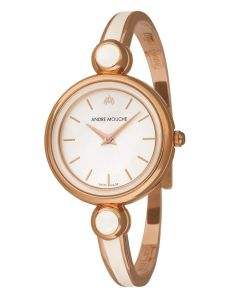 Aria white dial rose gold plated watch