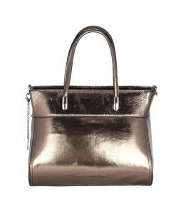 Leather tote bag - bronze