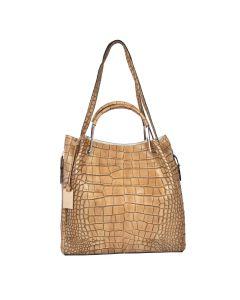 Camelia embossed leather shoulder bag