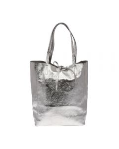 Mettalic effect leather tote bag