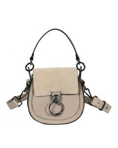O-ring flap leather shoulder bag