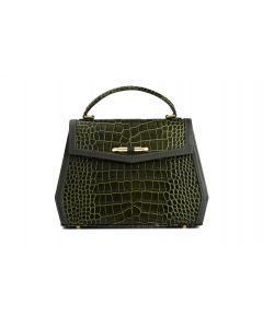 Amelie croc-embossed leather top handle bag