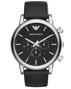 Emporio Armani Mens Chronograph Watch with Black Leather Strap