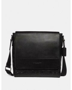 Coach Houston Map Bag In Signature Leather Black