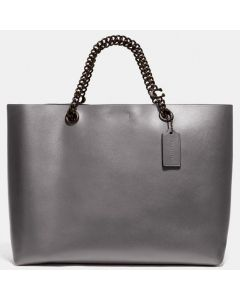 Coach Leather Signature Chain Tote - Heather Grey