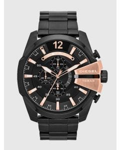 Diesel Watch in Black Steel and Rose Gold Tone Accents