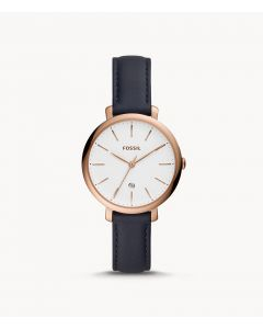 Fossil Jacqueline Three-Hand Date Navy Leather Watch (ES4630)