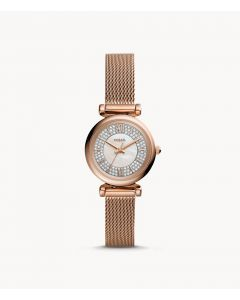 Fossil Carlie Mini Three-Hand Rose Gold-Tone Stainless Steel Watch