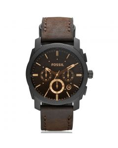 Fossil Machine Mid-Size Chronograph Brown Leather Watch (FS4656)