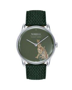 MORRIS & CO CRIMSON Silver Forest Hare Green Perlon 38mm