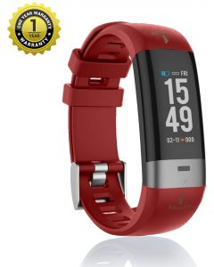 MevoFit Drive-Care ECG-Fitness-Band & Smart Watch for Fitness & Heath PRO: Stylish-Sporty-Health-ECG-Fitness-Band, All Activity, Red