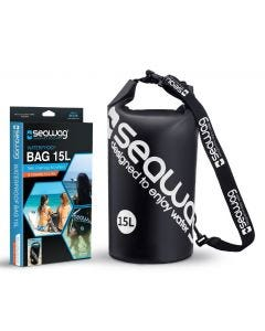 Seawag Waterproof 15L Drybag with strap and handle - Black & White