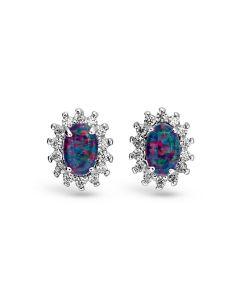 Wellington Elsa Stud Earrings 925 Sterling Silver with Shimmering Triplet Opal Gemstones