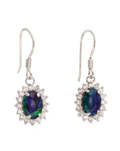 Wellington Anna Drop Earrings 925 Sterling Silver with Shimmering Triplet Opal Gemstones