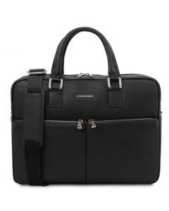 Tuscany Leather Urbino Leather Laptop Briefcase - Black